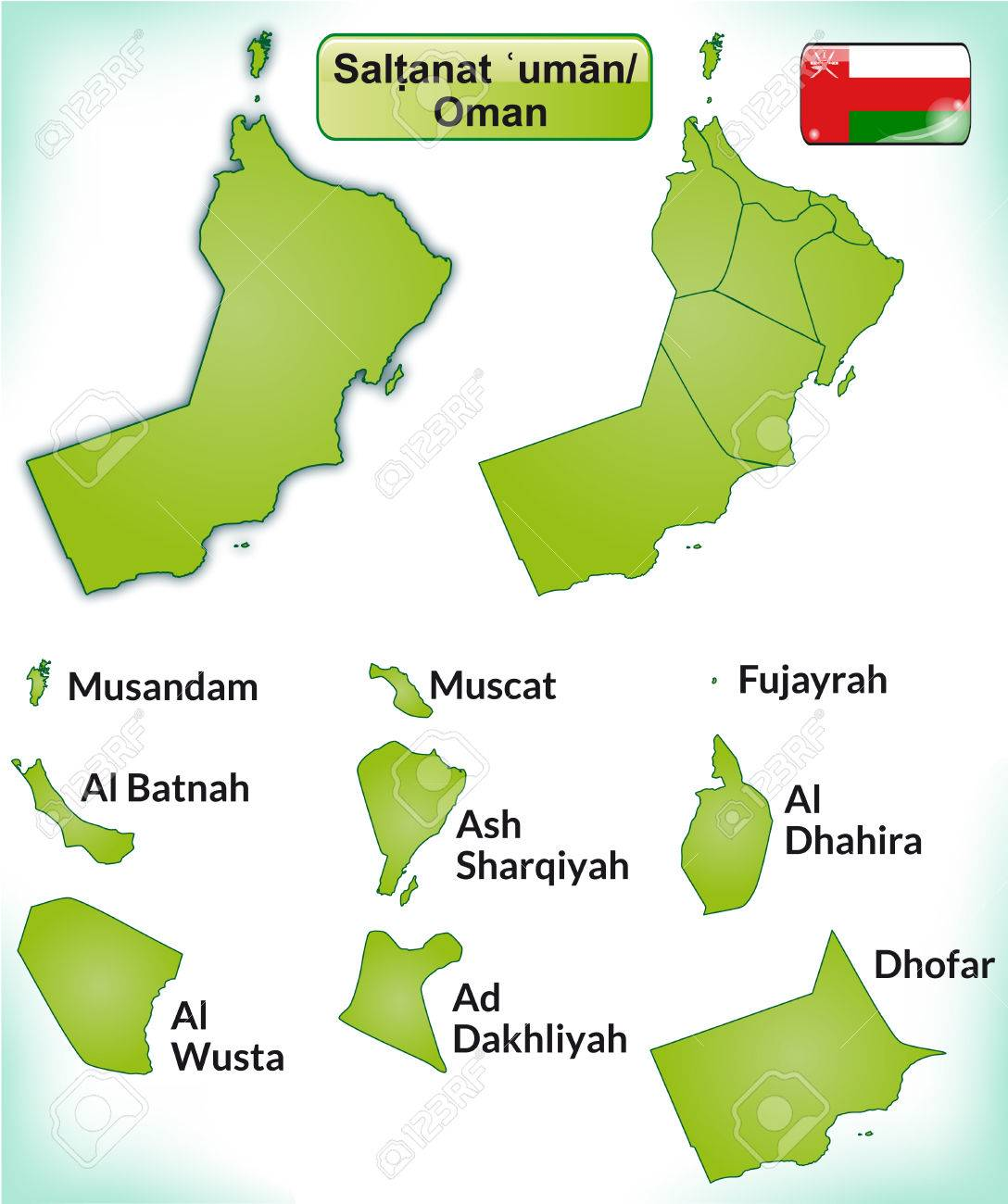 Karte Oman.Stock Photo