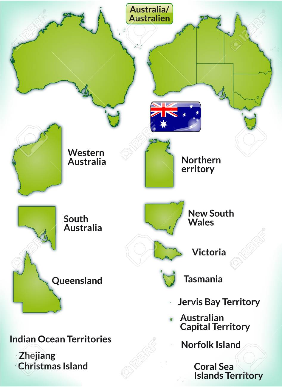 Karte Von Australien Mit Rahmen In Grün Lizenzfrei Nutzbare ...