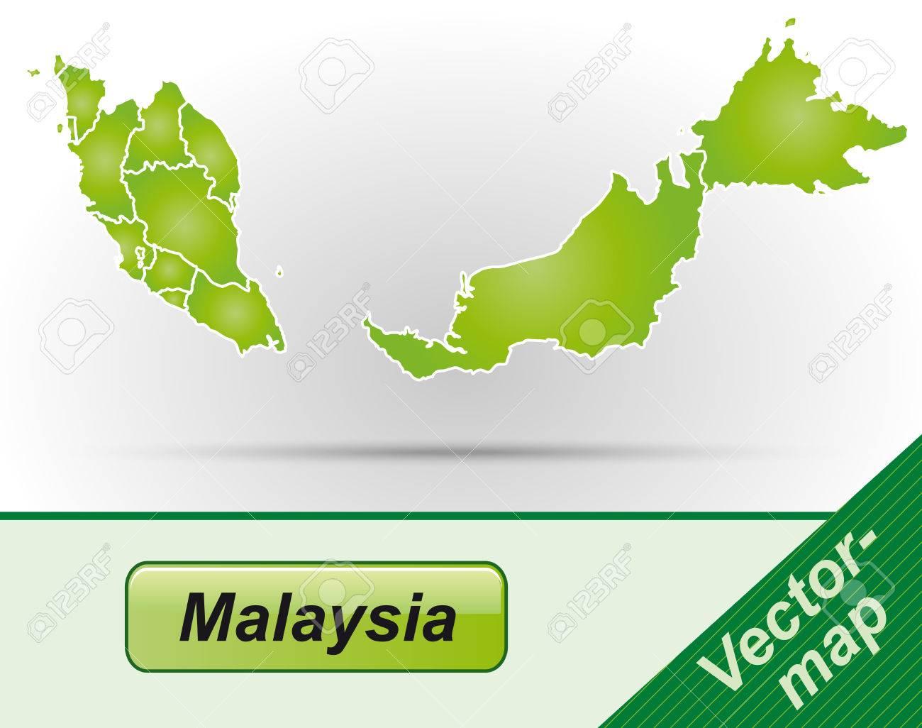 Karte Von Malaysia Mit Rahmen In Grün Lizenzfrei Nutzbare ...