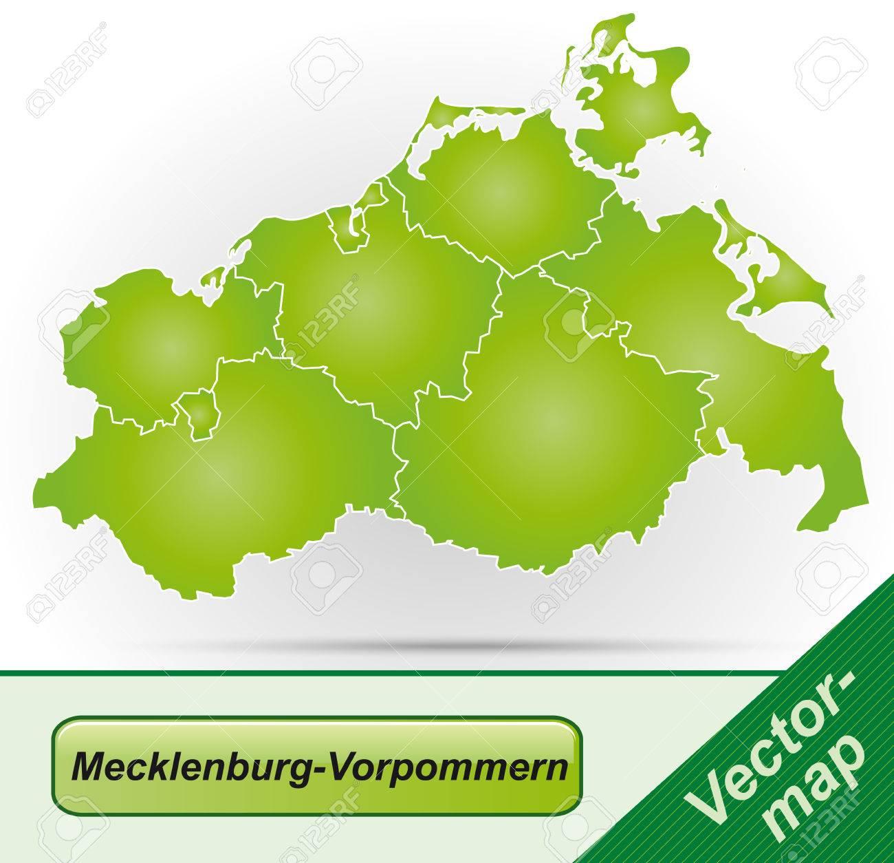 Karte Von Mecklenburg-Vorpommern Mit Rahmen In Grün Lizenzfrei ...
