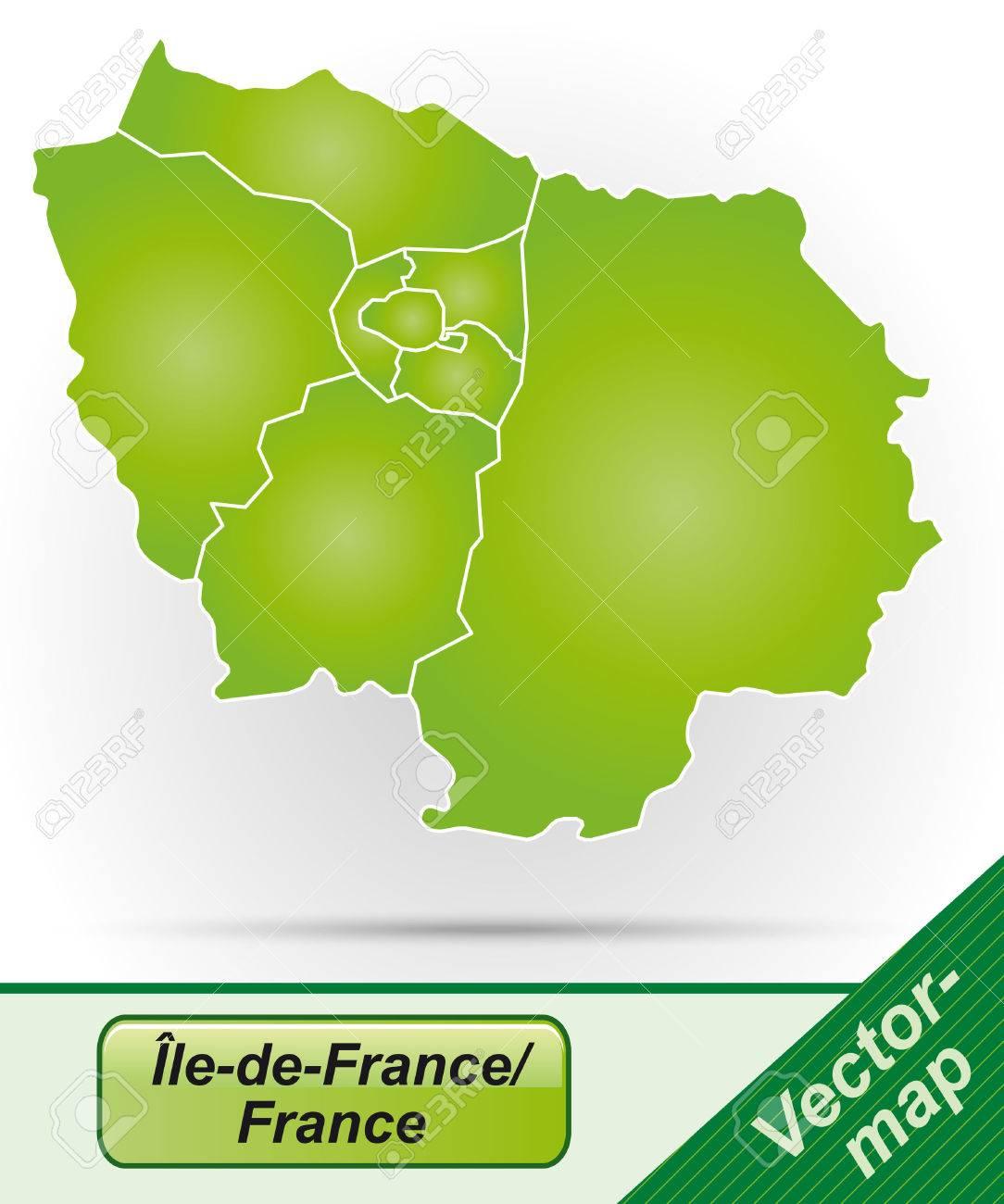 Karte Von Ile De France Mit Rahmen In Grun Lizenzfrei Nutzbare Vektorgrafiken Clip Arts Illustrationen Image 25155104