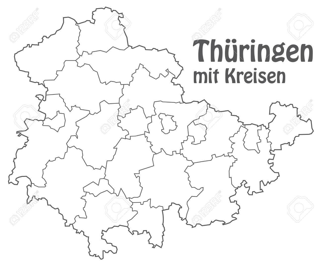Karte Von Thüringen Mit Rahmen In Grau Lizenzfrei Nutzbare ...