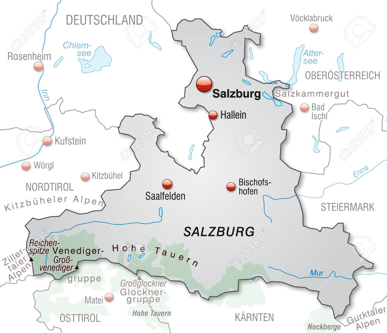 salzburg karte deutschland Map Of Salzburg As An Overview Map In Gray Stock Photo, Picture