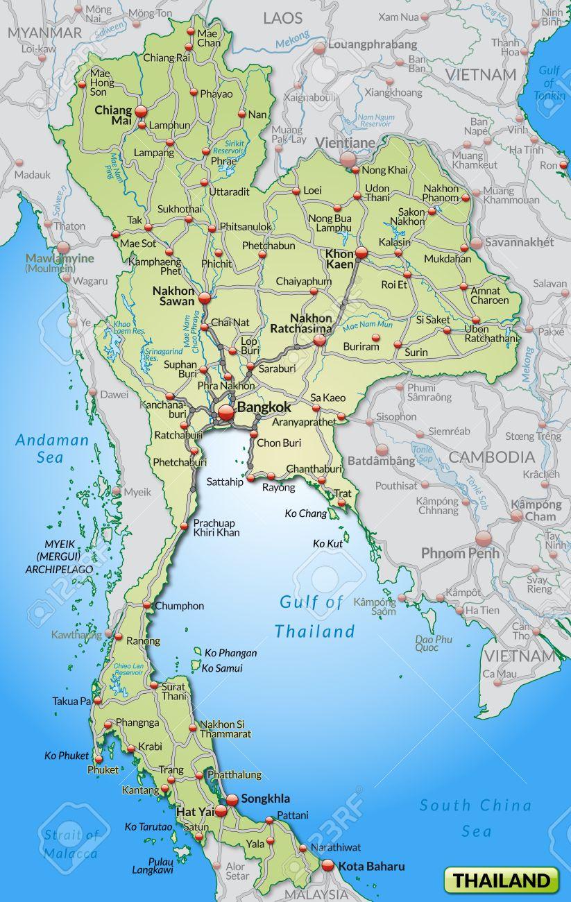 Thailand Karte.Map Of Thailand With Highways In Pastel Green