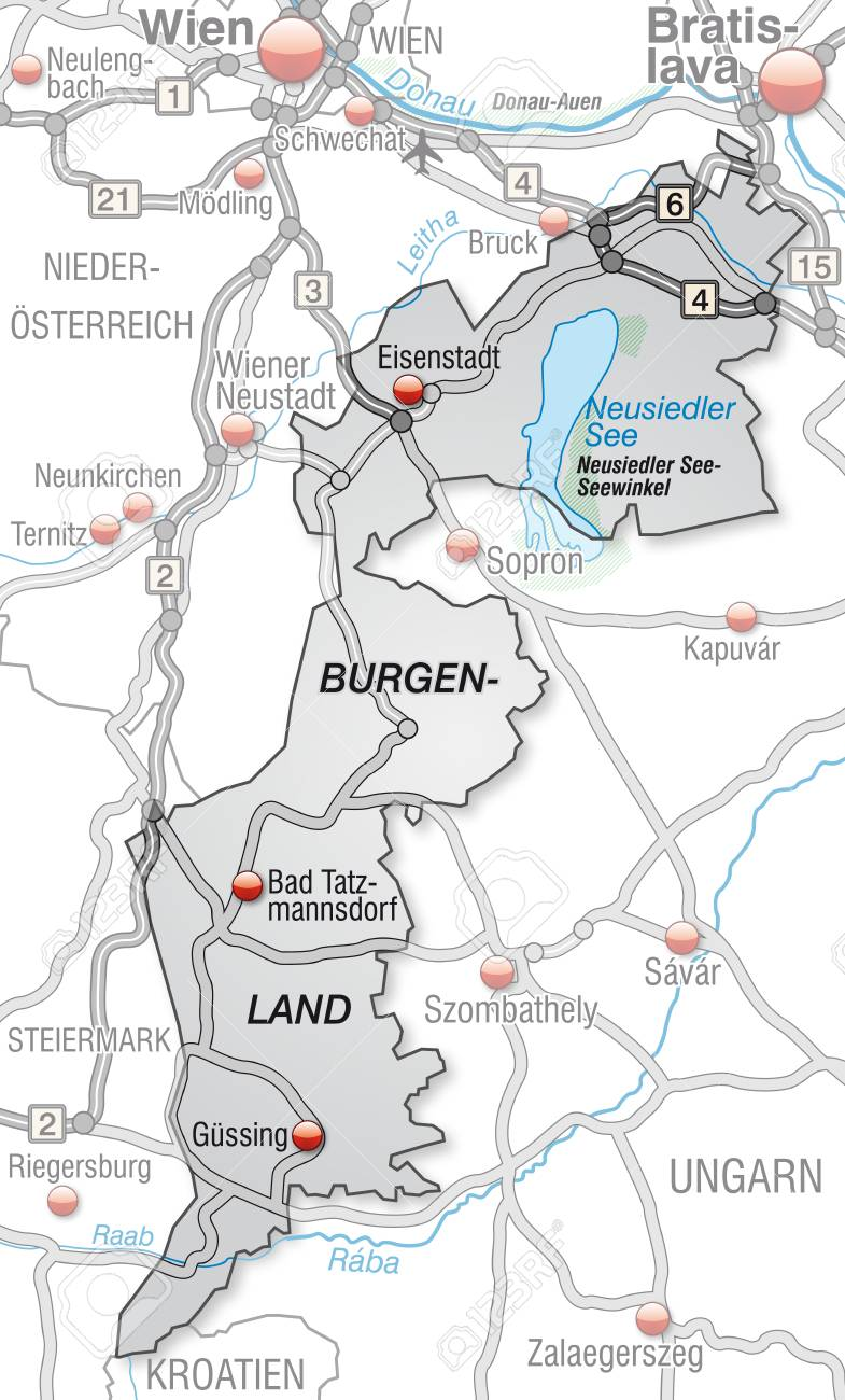 Burgenland Karte Neusiedlersee.Map Of Burgenland With Highways In Gray