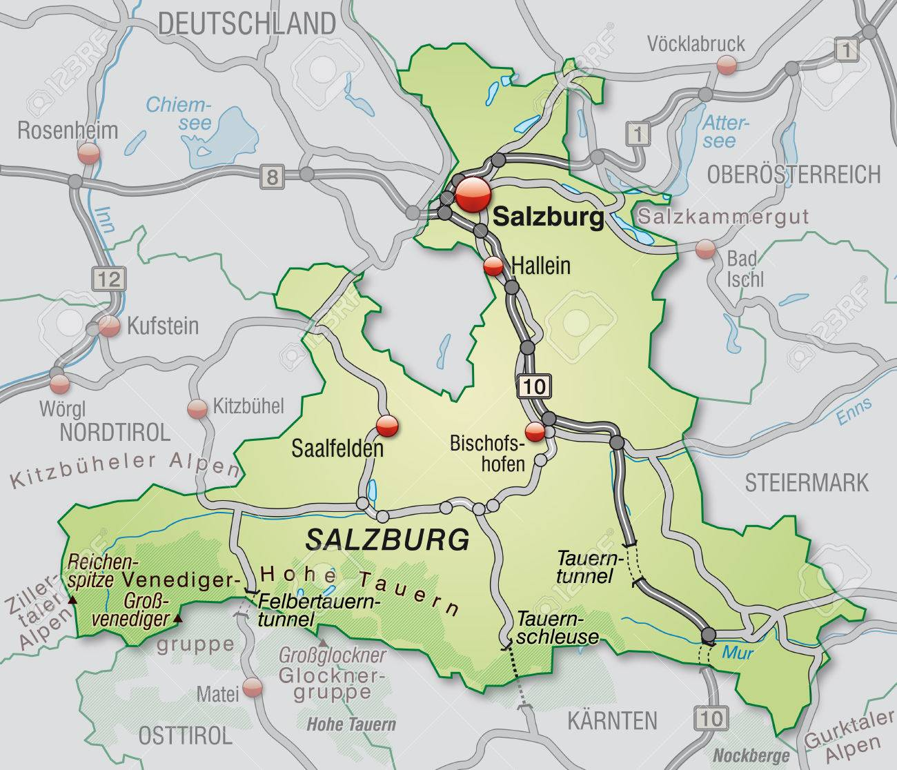 Map Of Salzburg With Highways In Pastel Green Stock Photo Picture