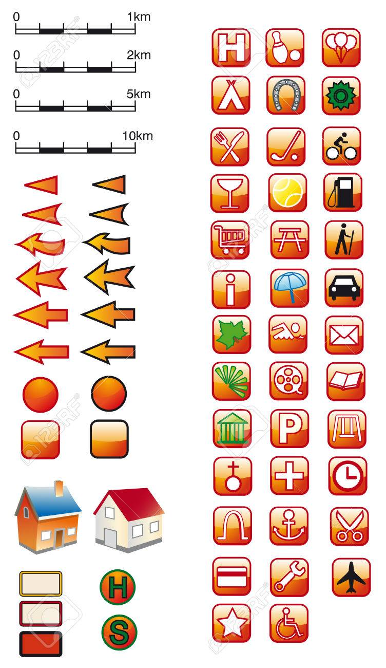 Red Map Symbols Royalty Free Cliparts Vectors And Stock