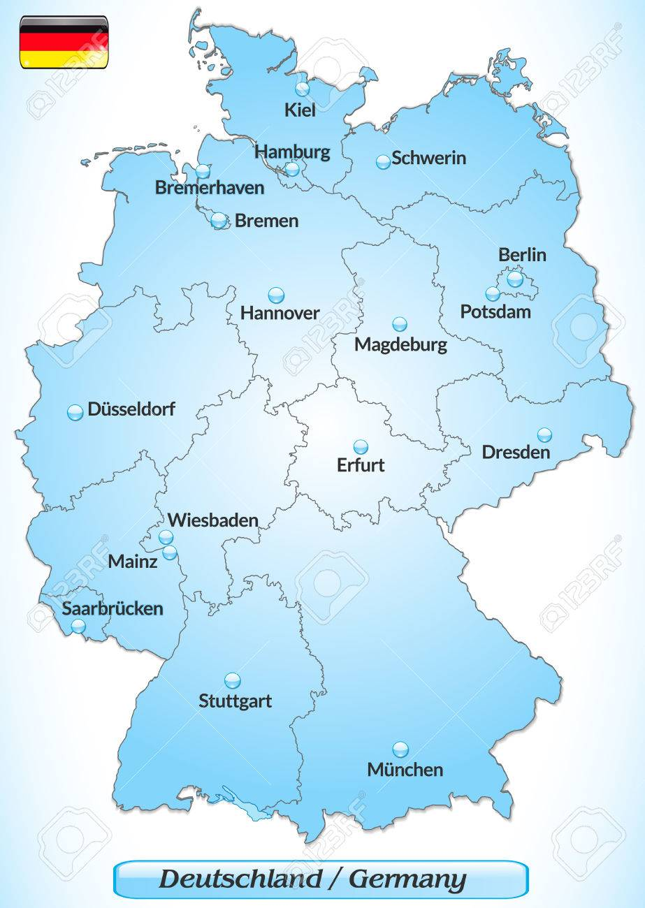 Map Of Germany Major Cities.Map Of Germany With Main Cities In Blue Royalty Free Cliparts