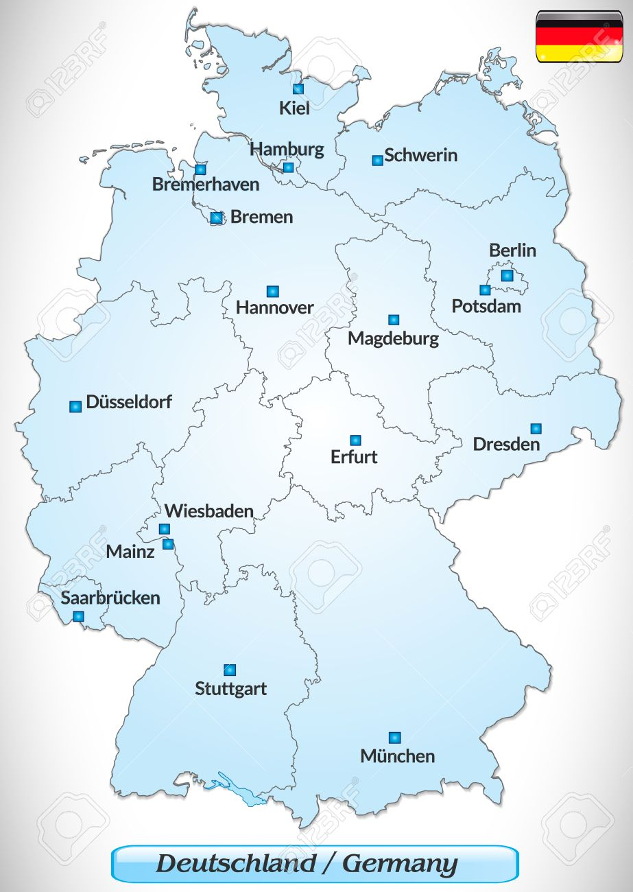 Map Of Germany With Main Cities In Blue Royalty Free Cliparts - Germany map main cities