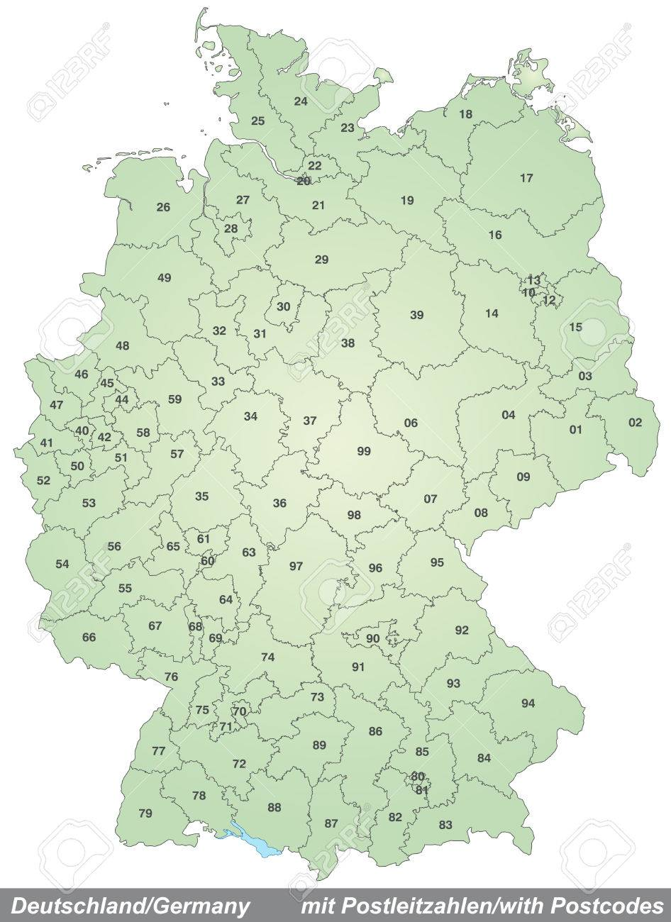 Map Of Germany With Zip Codes In Green Royalty Free Cliparts ... Zip Codes Map on