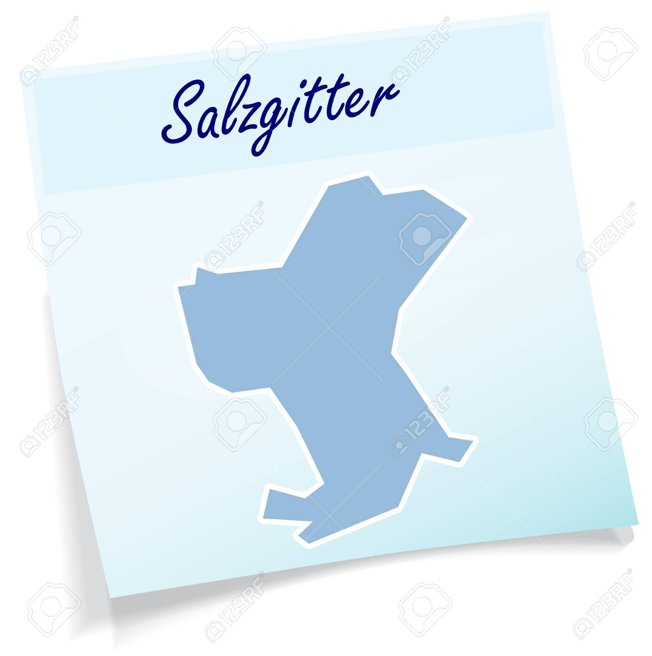 Map Of Salzgitter As Sticky Note In Blue Royalty Free Cliparts