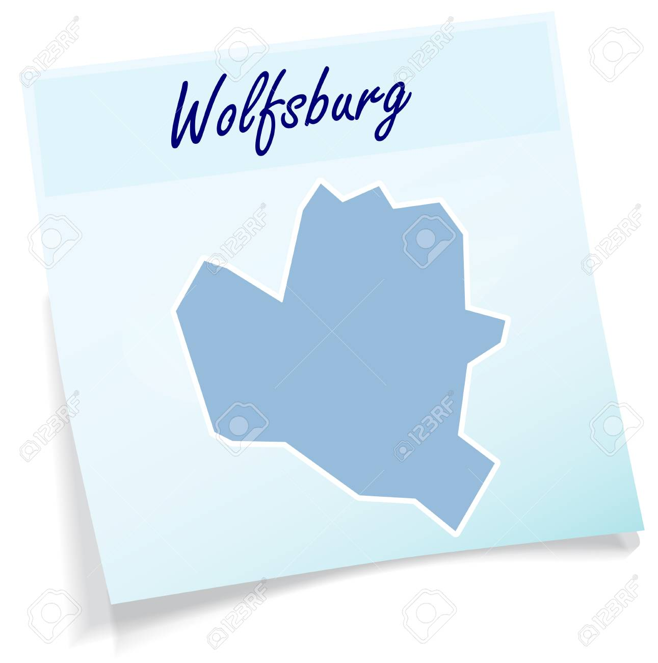 Map Of Wolfsburg As Sticky Note In Blue Royalty Free Cliparts