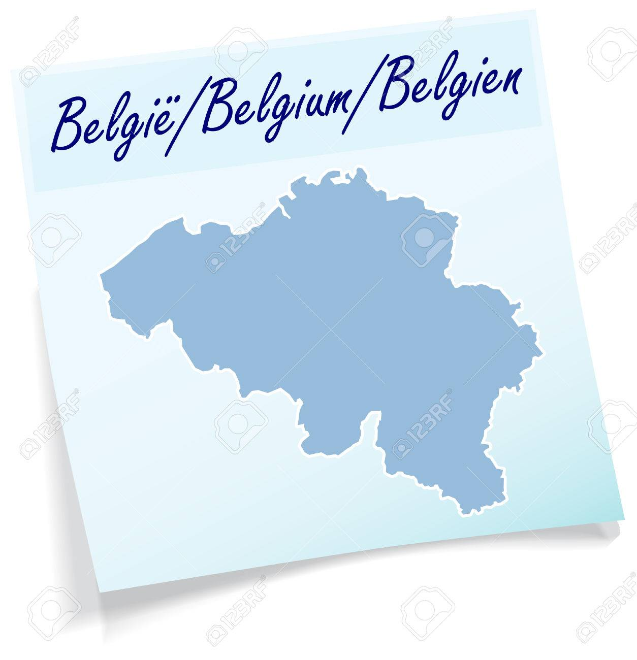 mapa de blgica como nota adhesiva en azul foto de archivo 31345050