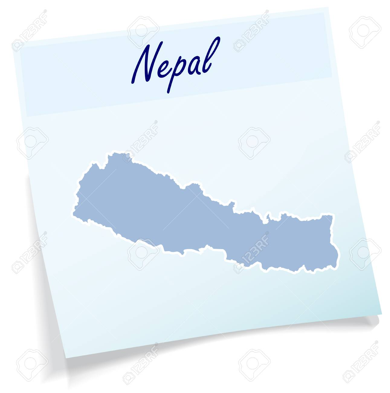 Nepal Karte Download.Map Of Nepal As Sticky Note In Blue