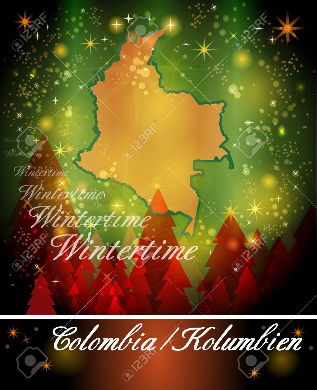 Fotos De Colombia En Navidad.Mapa De Colombia En Diseno De Navidad
