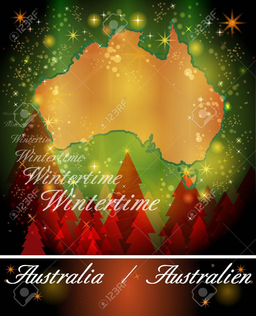 Carte Noel Australie.Carte De L Australie Dans La Conception De Noel
