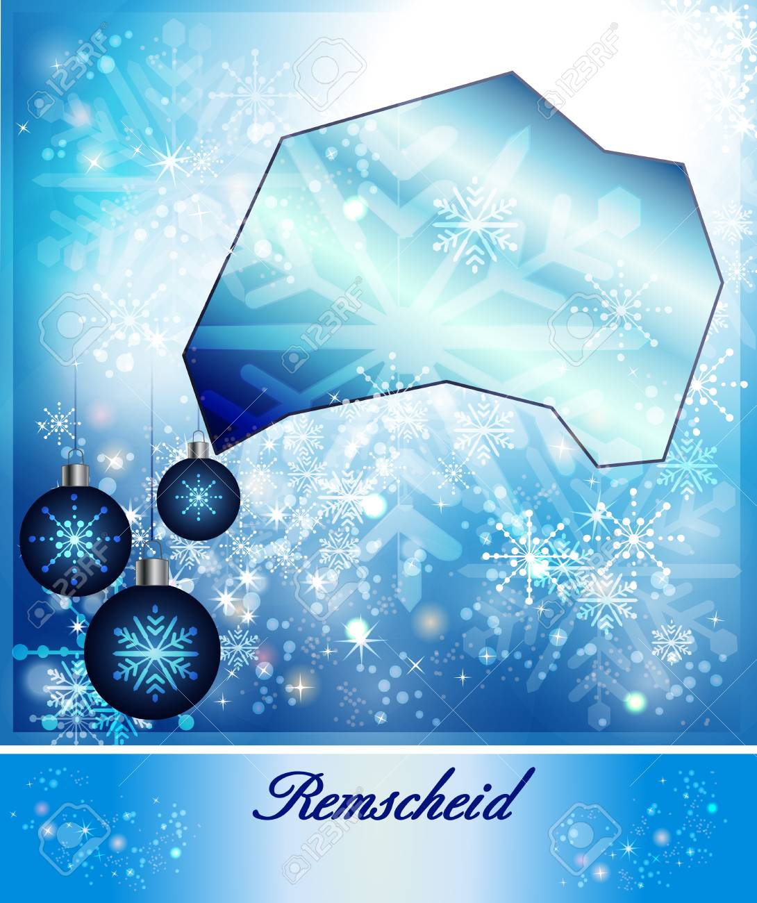 Map Of Remscheid In Christmas Design In Blue Stock Photo Picture