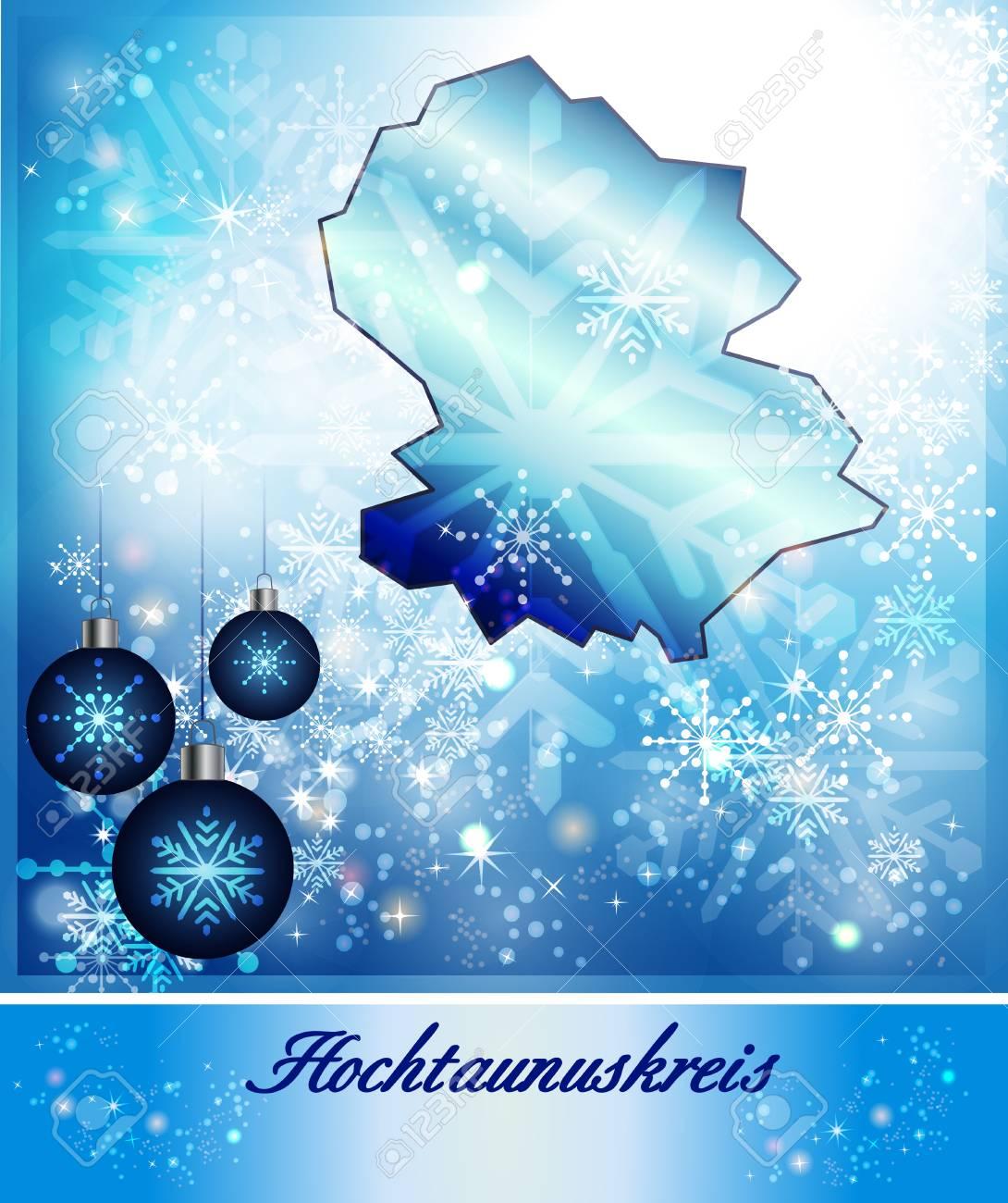 Map Of Hochtaunuskreis In Christmas Design In Blue Stock Photo