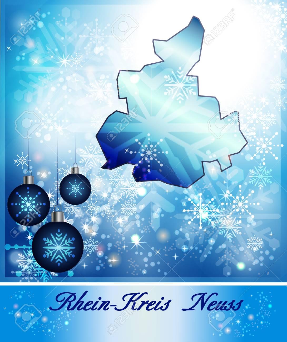 Map Of RheinKreisNeuss In Christmas Design In Blue Stock Photo