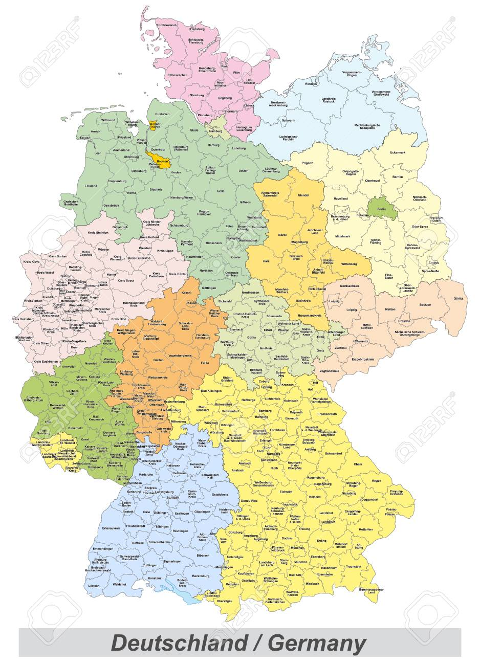 germany map with counties landmarks and inscriptions stock photo 67162725