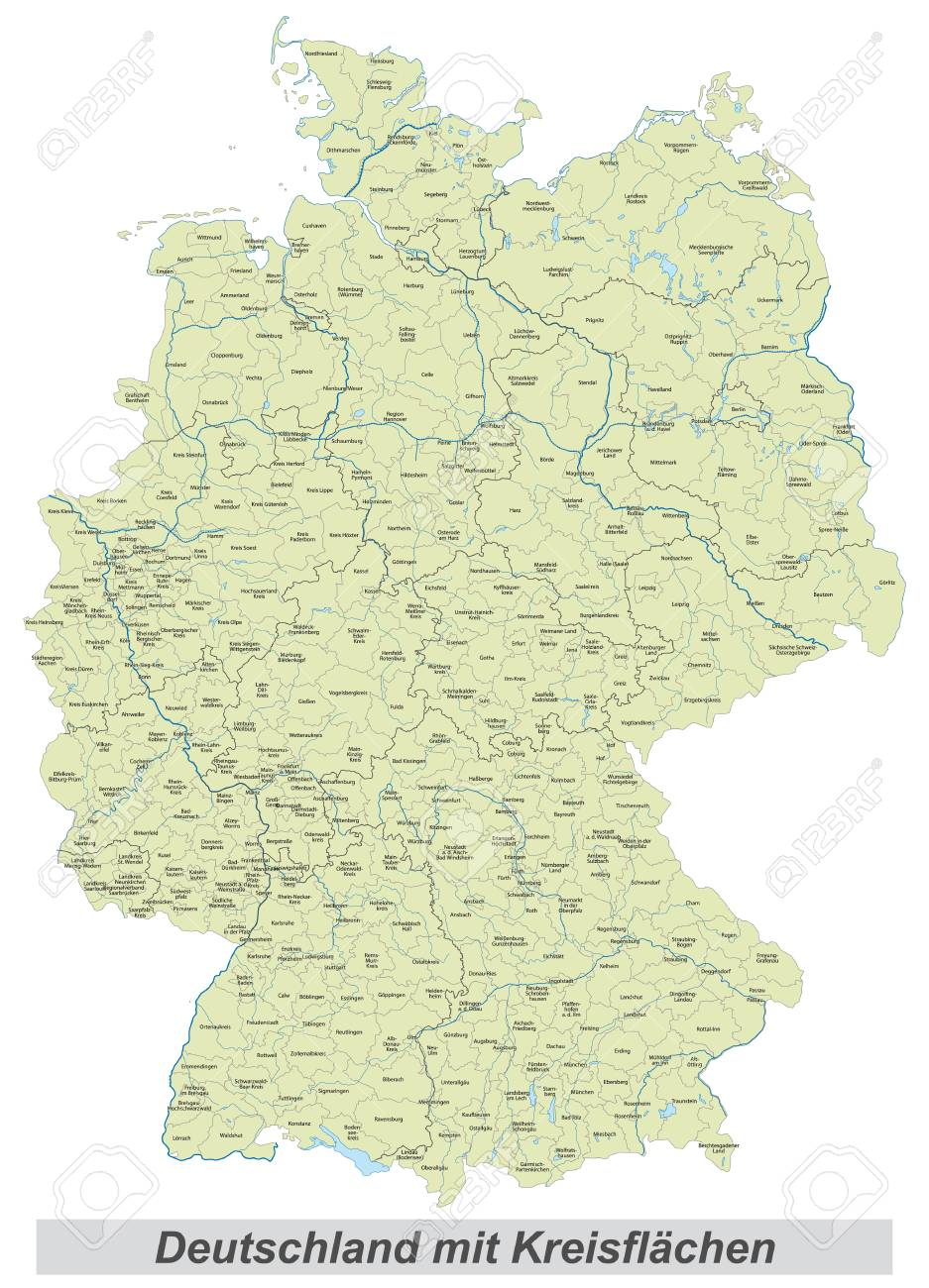 Map Of Germany And Surrounding Counties.Germany Map With Counties Landmarks And Inscriptions Stock Photo