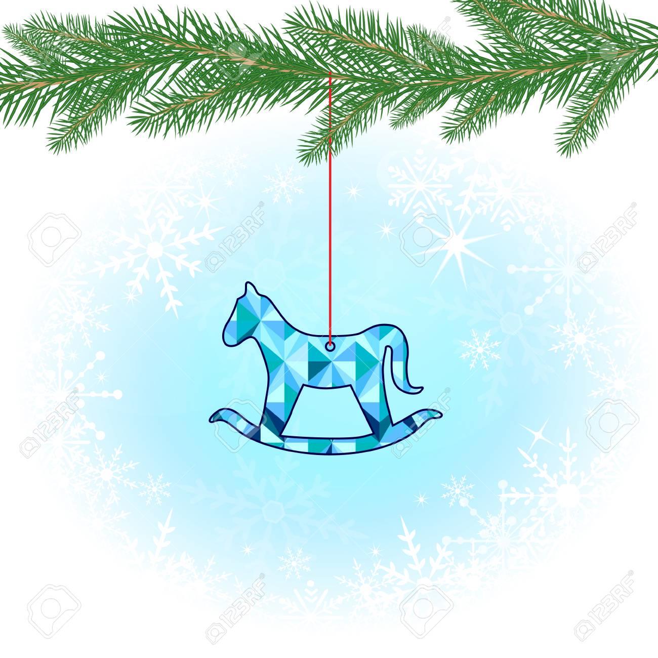 Grußkarte Weihnachten Mit Schaukelpferd Und Tannenzweigen ...