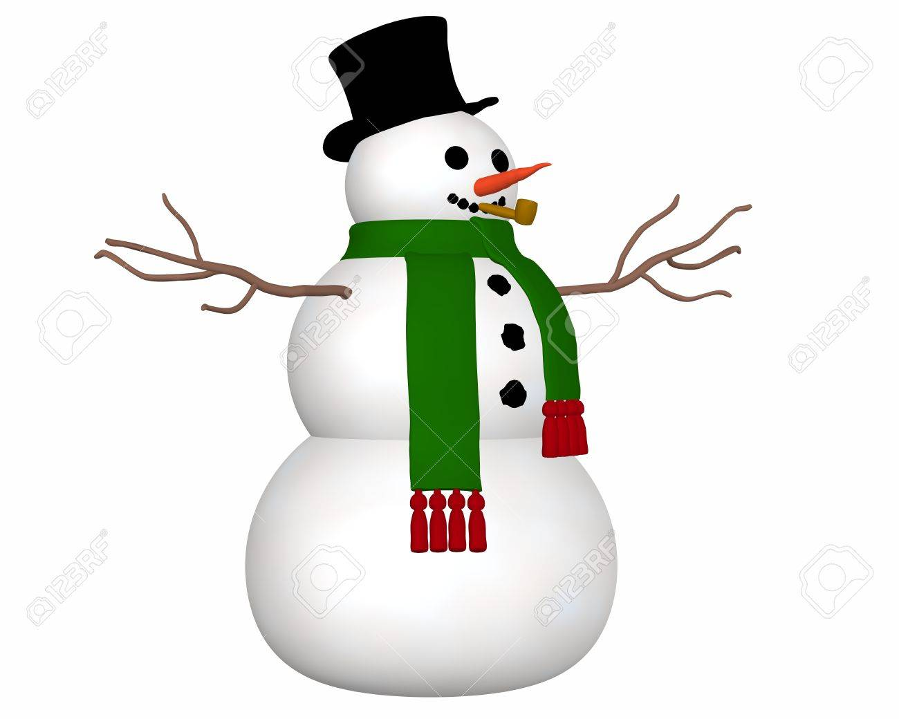 A angled view illustration of a snowman wearing a black top hat and green scarf and a carrot nose. - 11277135