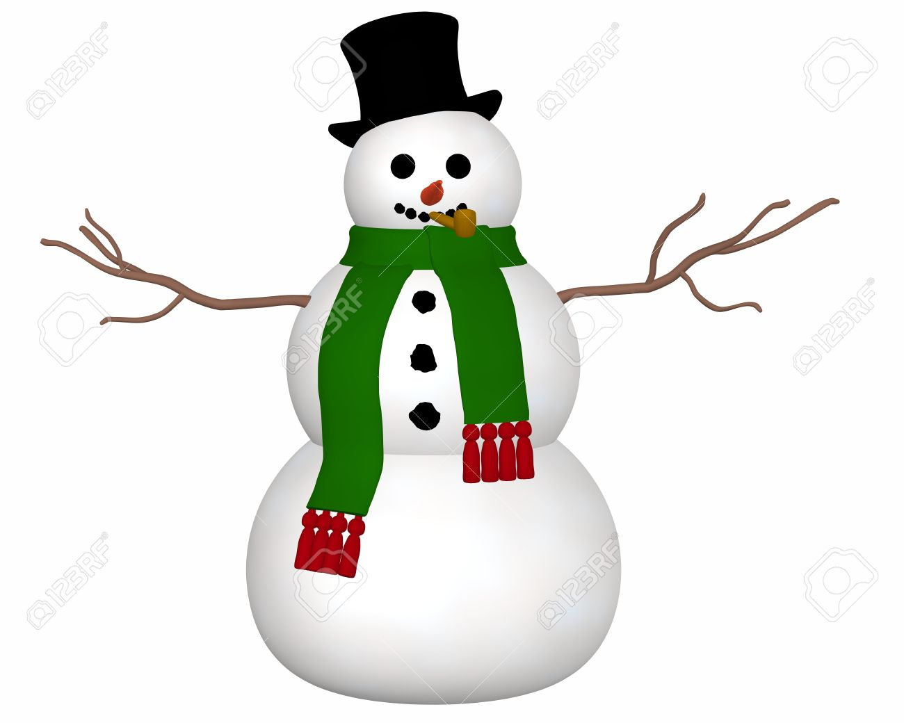 A front view illustration of a snowman wearing a black top hat and green scarf and a carrot nose. - 11277139