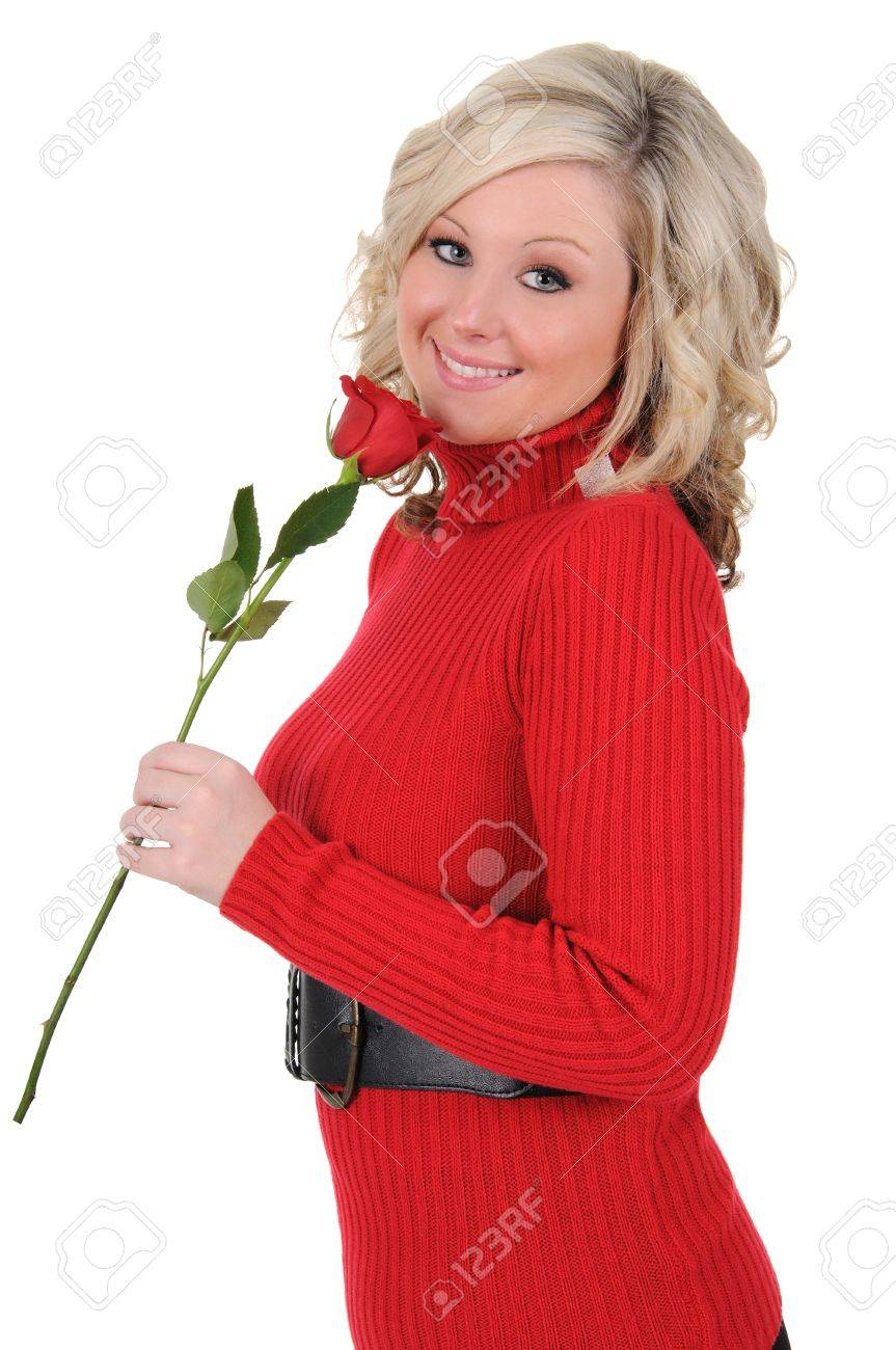 A charming young woman holding a single long stem rose. Valentine - 12285727