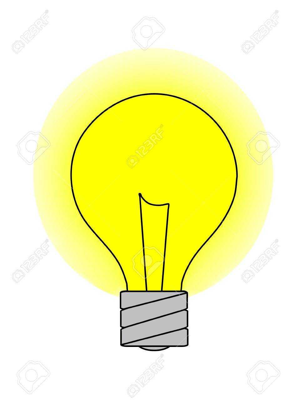 A Graphic Of A Light Bulb With A Yellow Glow. Isolated On A Solid White