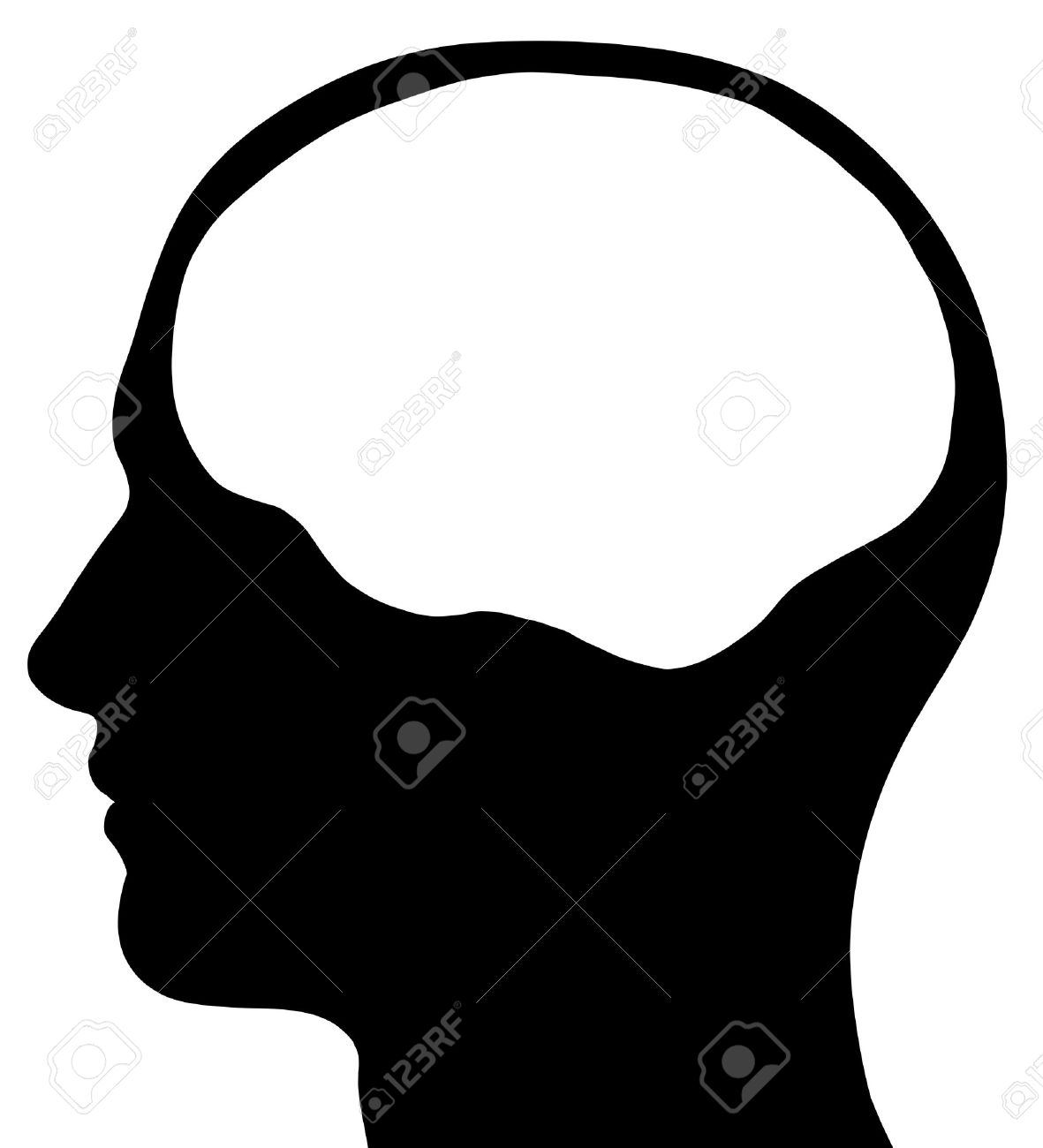 a graphic of a male head silhouette with a white brain area isolated on a