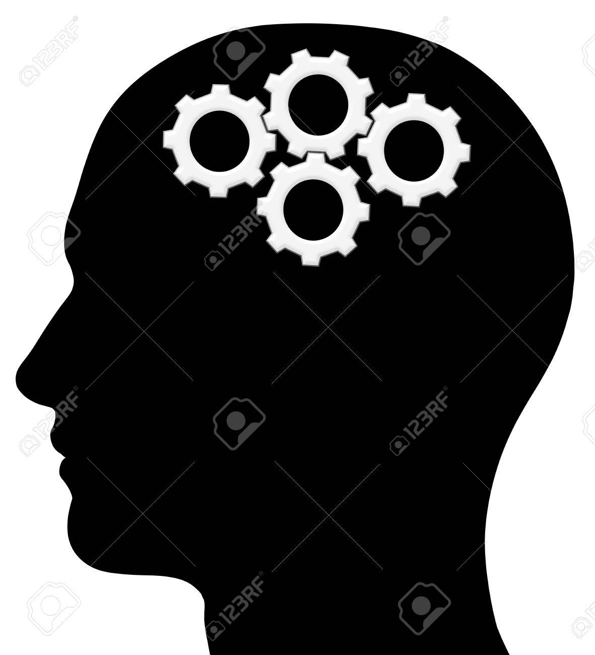 A graphic of a male head silhouette with gears. Problem solving process. Isolated on a solid white background. - 12285734