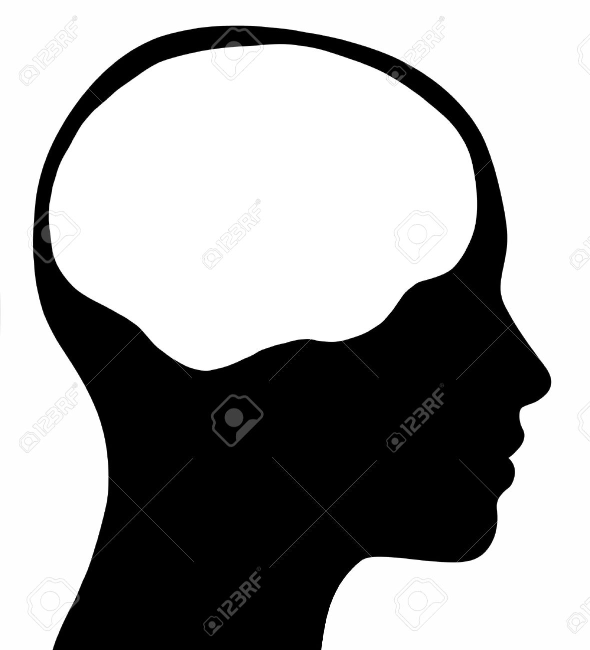 A graphic of a female head silhouette with a white brain area Isolated on a solid white background - 15149102