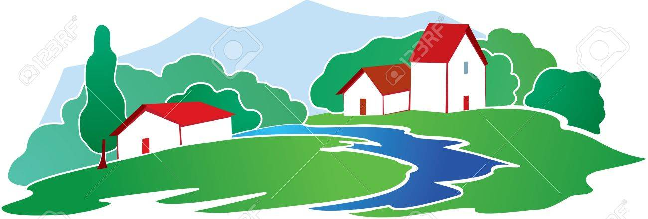 Rural background with farm Stock Vector - 12442272