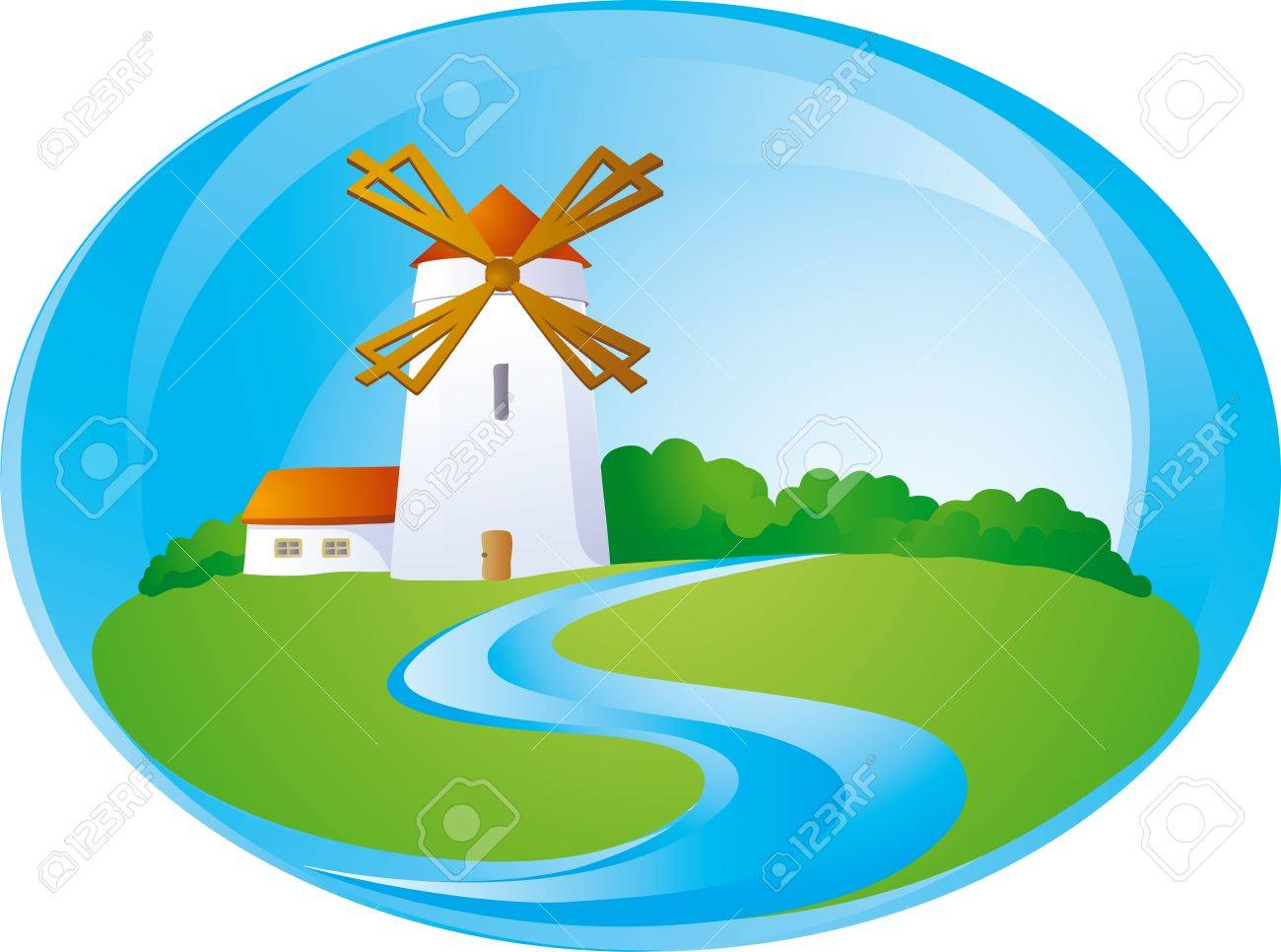 Rural background with windmill Stock Vector - 12442277