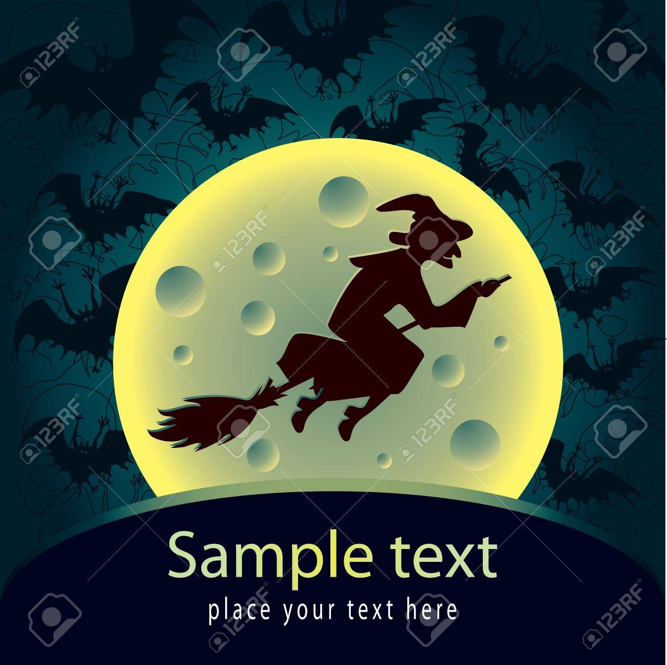 Halloween card with witch Stock Vector - 14690894