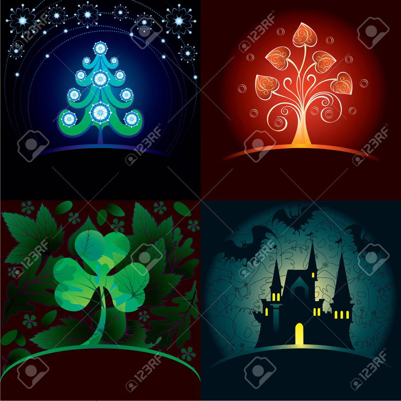 Set of decorative holidays cards Stock Vector - 15325255