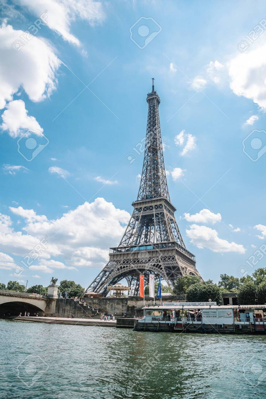 Eiffel tower in summer, Paris, France. Scenic panorama of the river Seine - 149407361