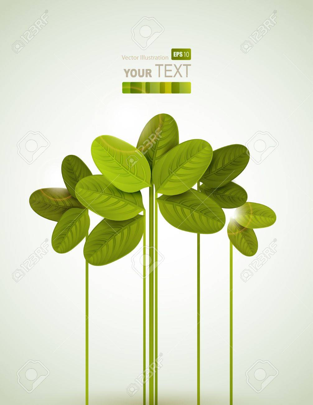 Summer branches with fresh green leaves Stock Vector - 13751005