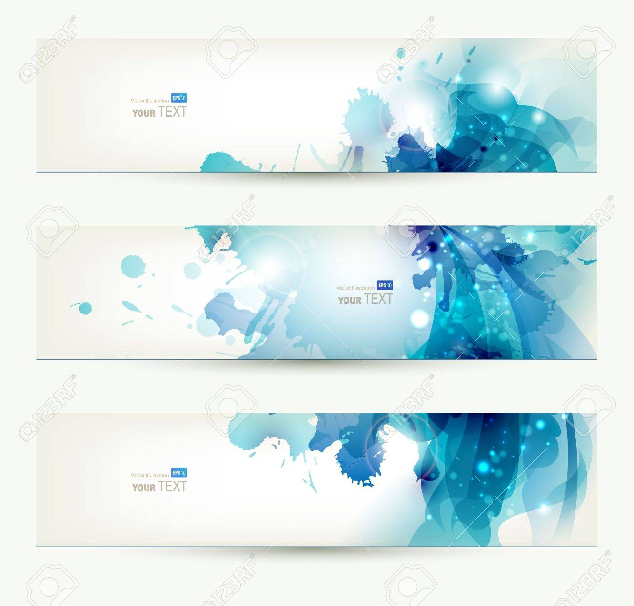 set of three banners, abstract headers with blue blots - 14109967