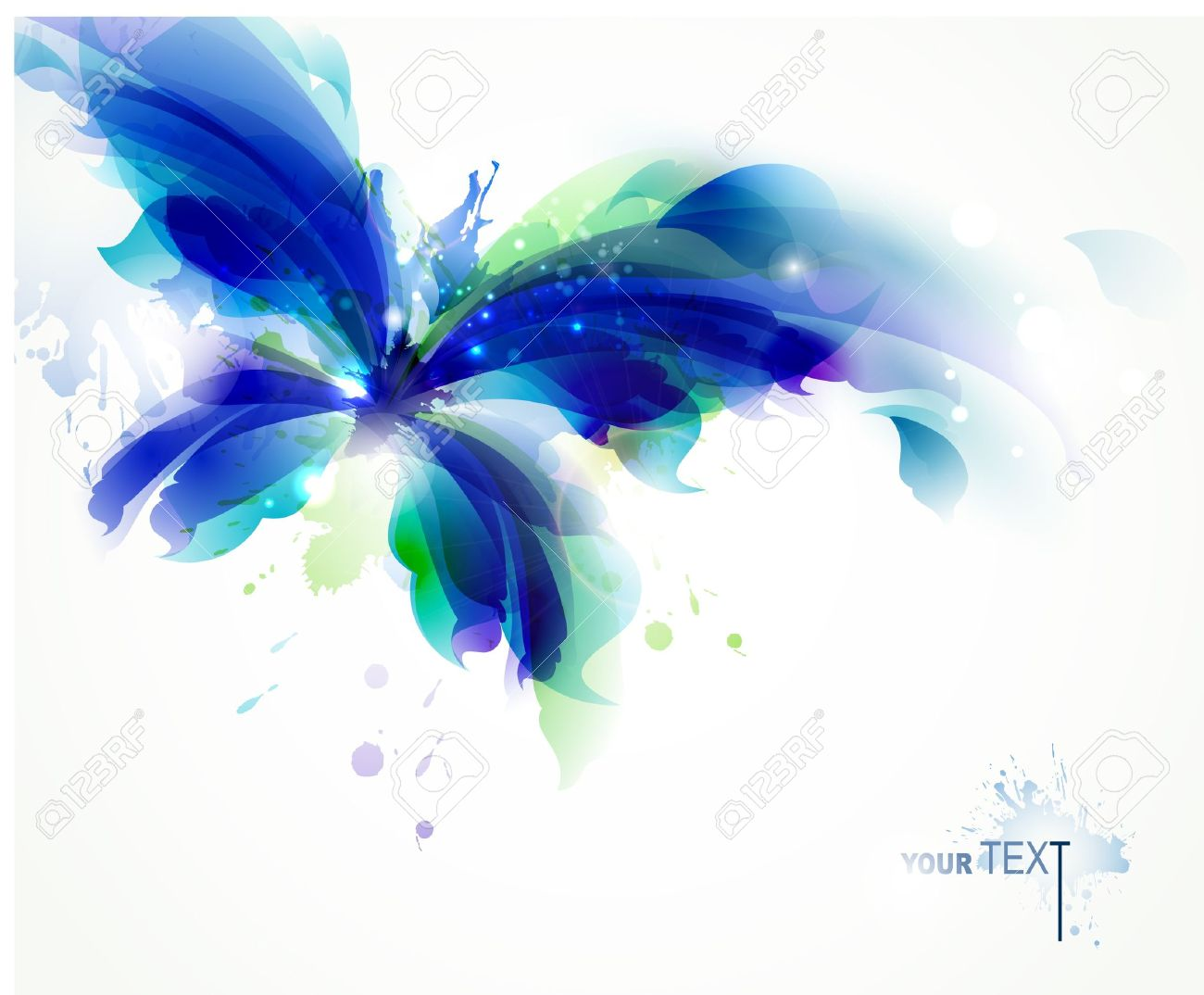 Abstract butterfly with blue and cyan blots Stock Vector - 14225879