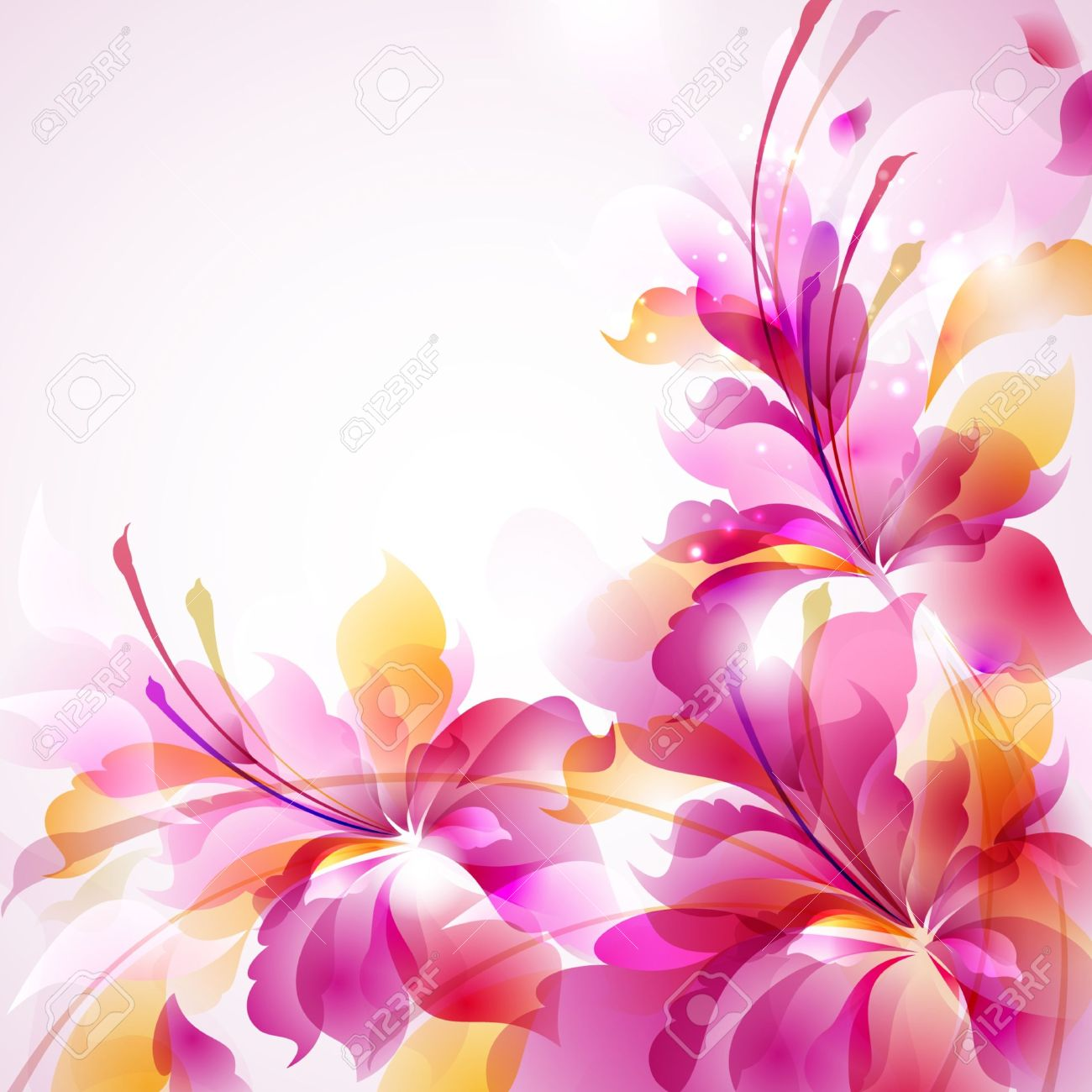 Tender background with three abstract flower Stock Vector - 14226523