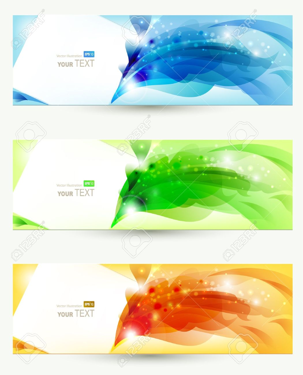 set of three banners, abstract headers Stock Vector - 14384231