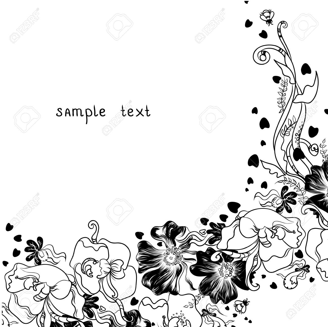 vector hand drawn decorative flowers - Decorative Flowers