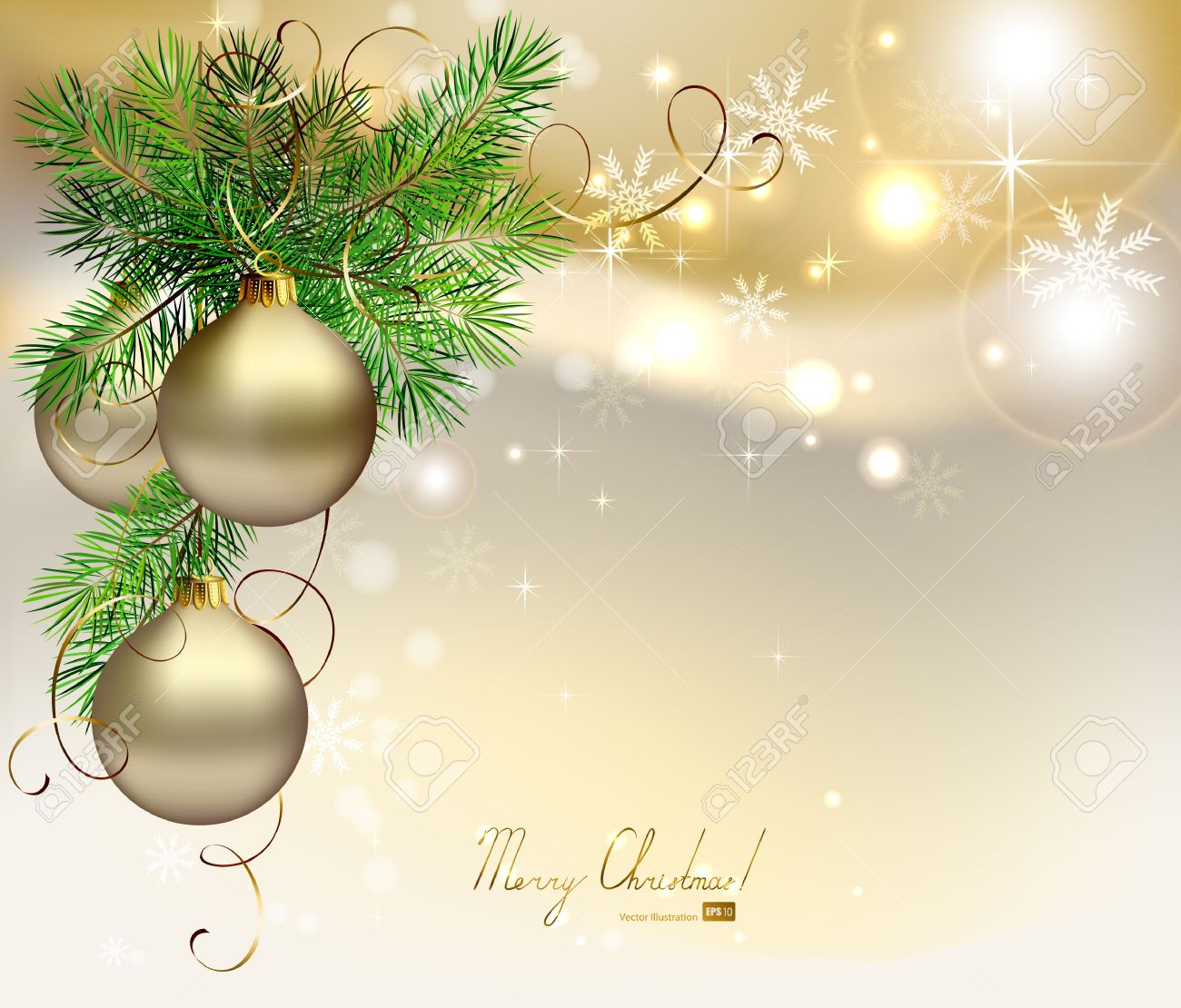 Light Christmas Background With Silver Evening Balls Royalty Free ...