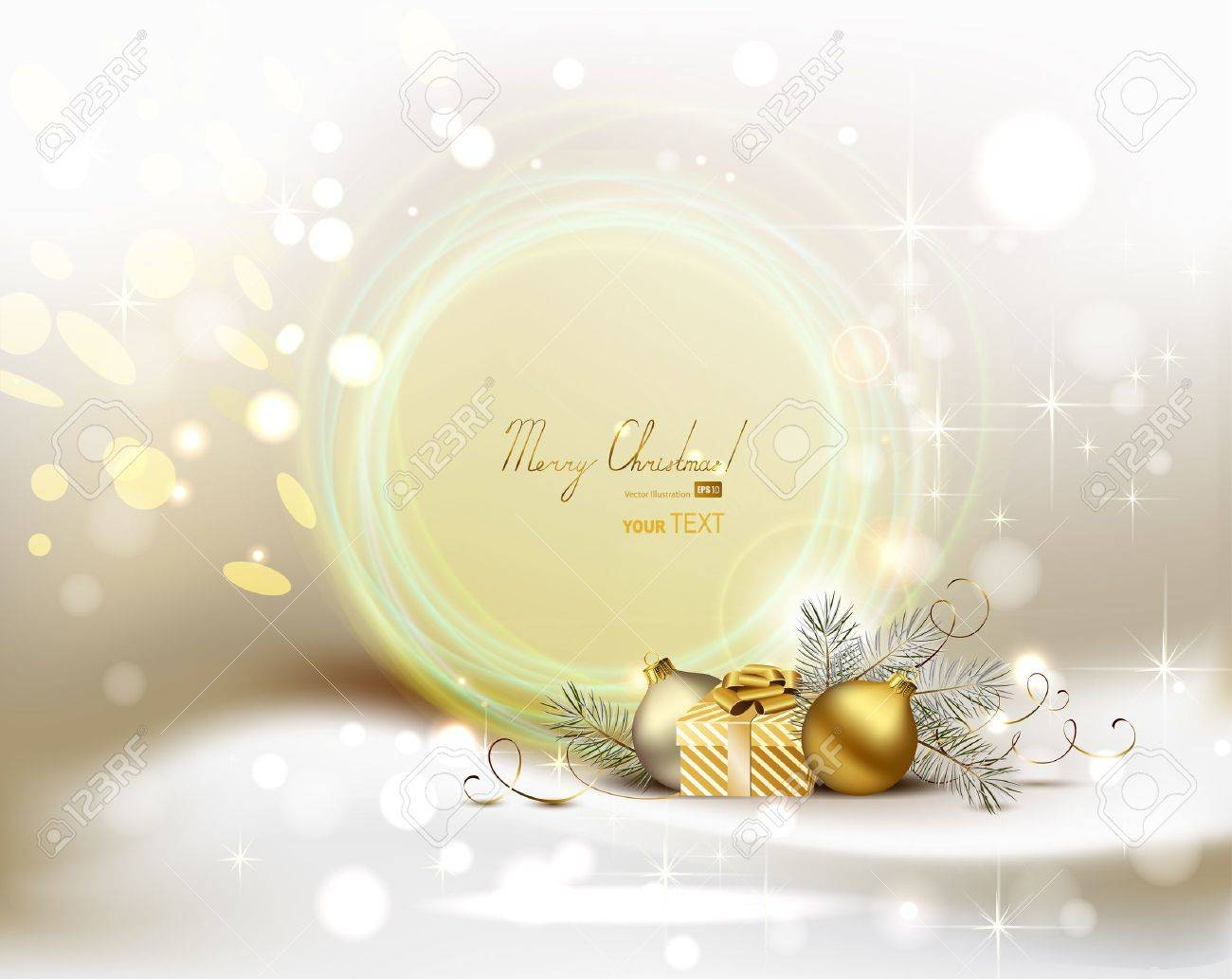 light Christmas background with two evening balls and gift - 14548590