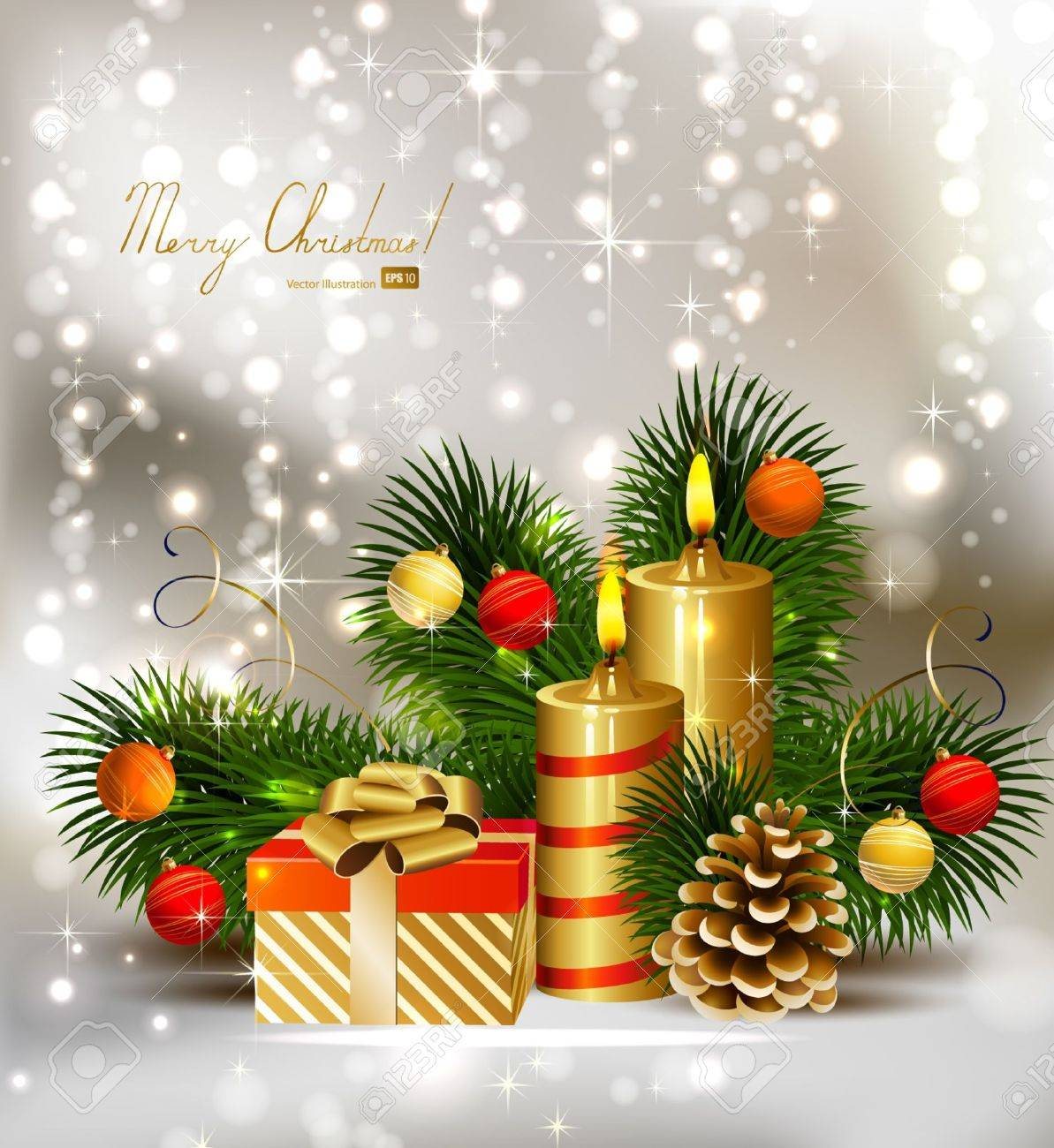 Christmas background with burning candles and Christmas bauble Stock Vector - 14580208
