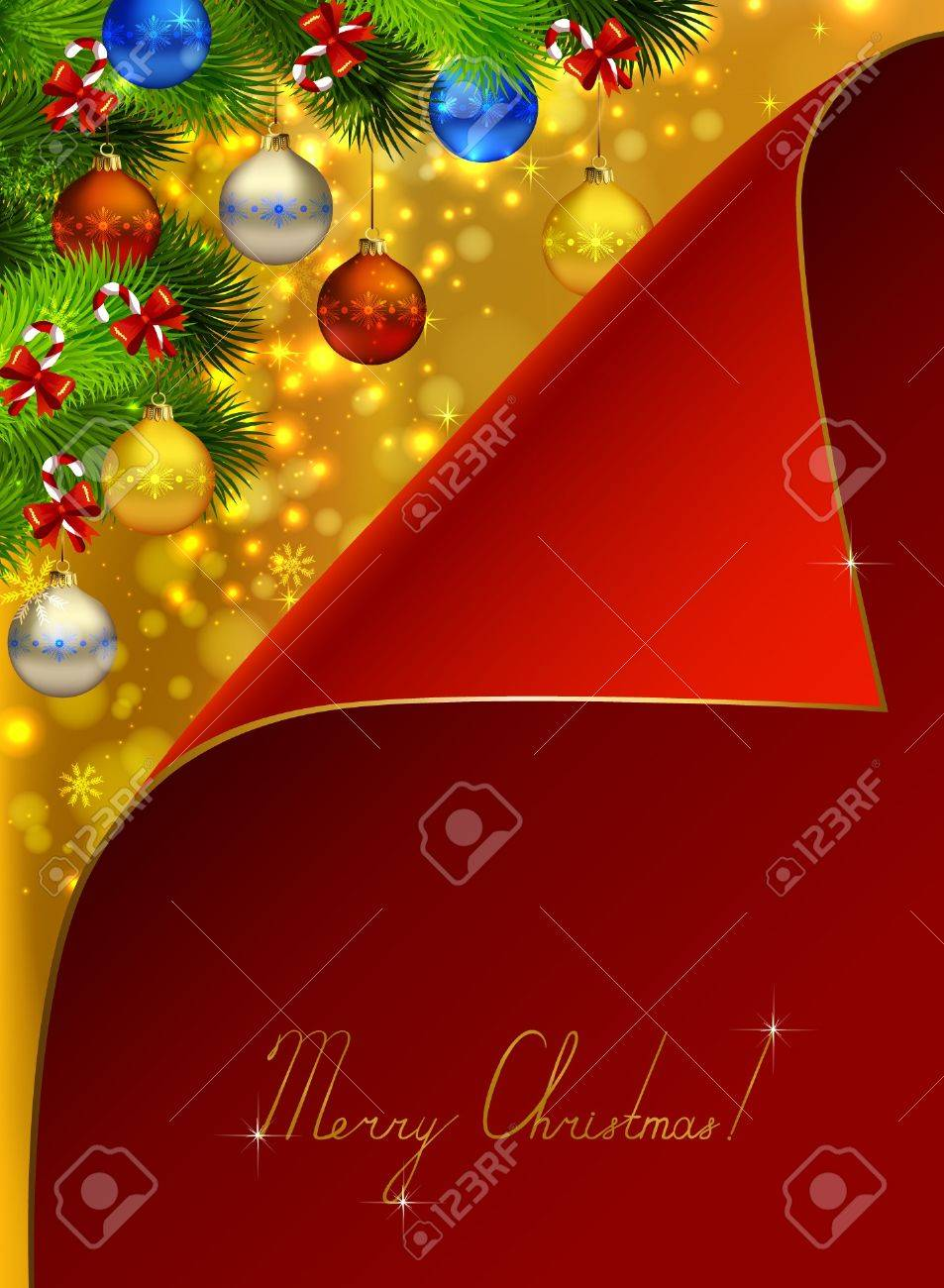 Red Greeting-card Covers Christmas Background With Fir Tree ...