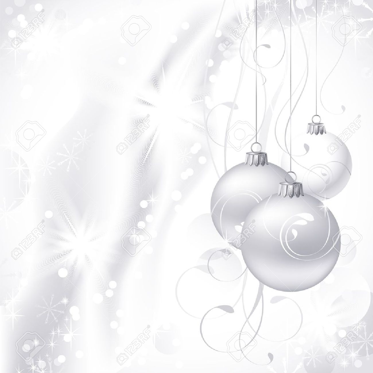 white Christmas backdrop with three balls Stock Vector - 15361119