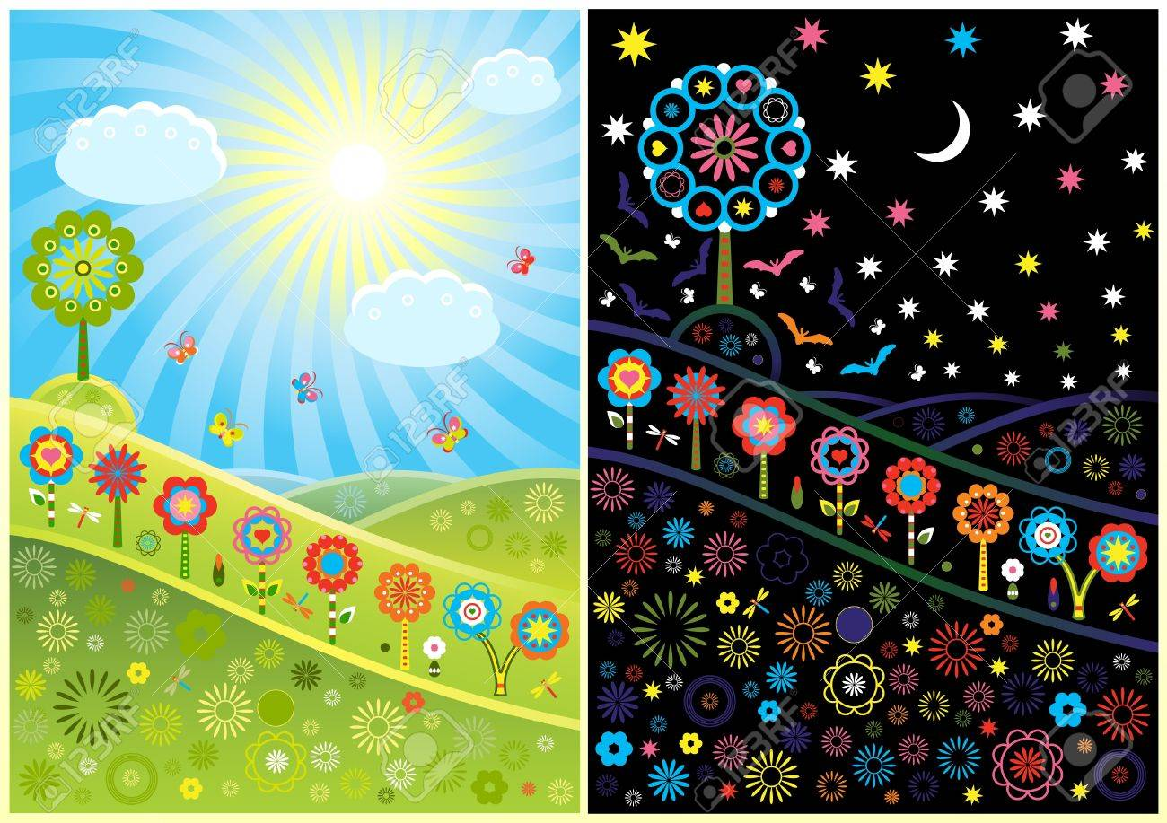 Decorative day and night glades Stock Vector - 15339196